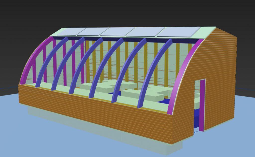Entwurf zu einer freistehenden Aquaponikanlage an der Sonne ausgerichtet.